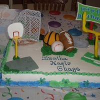Boys Sports Cake Made this for friend, all three or her boys have birthdays in same month. Sports equiptment was first time covering RKT with fondant....