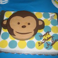Monkey Cake My girlfriend purchased the plates and other mod monkey decor and had asked me to make a cake to match.