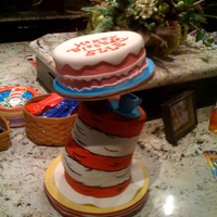 "Cat In The Hat From Dr. Seuss' Cat In The Hat. (7) 8"" cakes stacked with a central dowel screwed to the bottom board and screwed to the top cake..."