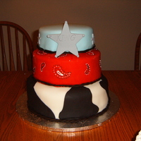 Western top tier is chocolate, rest is white cake. His personal cake was white cake also. Loved doing the bandana tier.