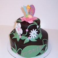 Tinkerbell chocolate cake with chocolate buttercream covered in dark chocolate buttercream, fondant accents and tink candle