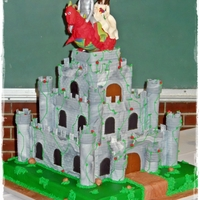 Medival Wedding Castle Red velvet cake with almond buttercream and marbled grey/white fondant that I used a brick impression mat on. The board is also covered in...