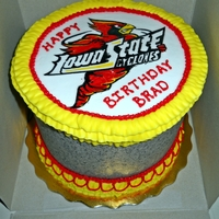 Iowa State University Birthday cake for ISU fan. Dark chocolate with cookies n cream filling and frosting. Also french vanilla buttercream frosting. The image...