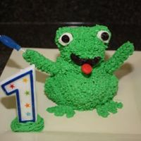 "Miniature Frog Smash Cake This was my son's ""smash cake"" for his first birthday!"