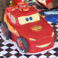 Lightening Mcqueen 3D Cake I made this cake for my son's 4th birthday. It's 4 slabs of chocolate mud cake measing 11x15. I froze the cake first to carve it...