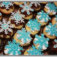 Sweet Snow Vanilla and chocolate mini cupcakes with chocolate/vanilla BC. Adorned with hand piped chocolate snowflakes. Love how they turned out, but...