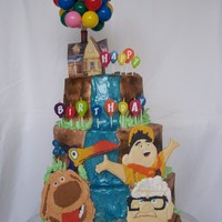 Up Cake I did this cake for my 2 year old son who loves Disney's UP Movie. The house is a paper print out from the Disney website with bunches...