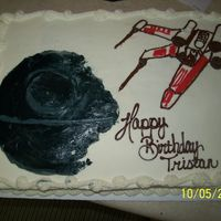 Star Wars Done for my brother in law's nephew. He wanted Star Wars...so I traced the Death Star and the ship onto the cake. I'm not an...