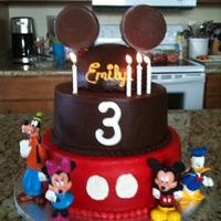 Mickey Mouse Cake I did this cake for my daughter's 3rd birthday. Cake was all chocolate with ferrero rocher chocolate mousse. The bottom tier was...
