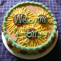 Welcome Home This is the first cake I've ever done for more money than just cost of materials. :) The writing was a little tricky because I was...