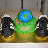 Soccer Cleats And Soccer Ball   fondant covered cleats and ball