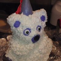 Princess Teddy Bear Smash Cake I made this as my daughters smash cake for her first birthday. Mini teddy mold. BC icing and made hat from fondant with tiny drap for the...