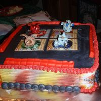 Bakugan Battle Arena got this idea from another on here. My son loved it. i used the 10 inch pan and made the sides out of fondant, real bakugan on top and...