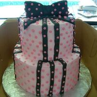 Pink And Black Polka Dot Cake With Bow