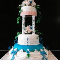 Wed Cake  Fondant, gum paste, and royal icing wedding cake. The bride requested a center cake with 2 side heart shapedcakes. The reception was at an...