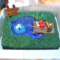 Caston's Summer Is Here! This is a double layer cake, with a piping gel lake, The splash around the feet is piping gel and BC. This is covered in BC, grass tip,...