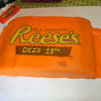Reeces Peanut Butter Cup Package This is a peanut butter flavored cake, filled with chocolate, and then fondant covered, , all add ons are hand cut from fondant I changed...