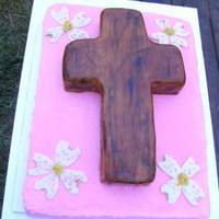 Old Wooden Cross And Dogwoods  The bottom is a sheetcake covered in buttercream, with a carved cake on top covered in fondant and hand painted. The dogwoods are...