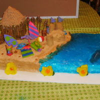 Luau Cake This cake is 2 layer buttercream filled, covered in piping gel and graham crackers, everything is gumpaste/fondant, the tiki hut and sand...