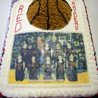 Basketball Cake For Girl's Team I did this cake for my 9 year old daughter's end of season cake. Marble cake with bc filling, with red and black (team colors) MMF...