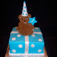 Mini Bear Birthday Wilton mini bear cake. Hat is a wafer cone, covered in pearl clay.