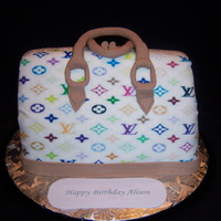 Louis Vuitton Purse Cake carved from 1/4 sheet cake. Fondant covered and edible image used for logos. Very easy and simple to do.