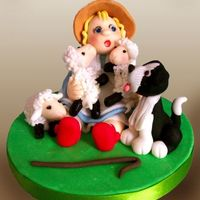 Bo Peep This is a childrens cake topper with lovely animals.