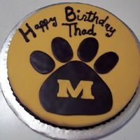 "Missou Tiger Brownie For a 10 year old boy who wanted a Missouri Tigers cake. He does not like cake so I did a 12"" round brownie and after trying to ice it..."