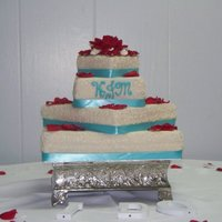 Square Cake 4 tier wedding cake...white chocolate cake with bavarian cream filling and cream cheese icing