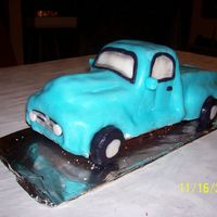 Ford Pick Up sculpted from loaf cakes and covered in rolled buttercream