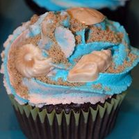 Beach Cupcakes Two dozen chocolate fudge cupcakes, iced with 2-tone buttercream icing and sprinkled with brown sugar. I also made white-chocolate/peanut-...