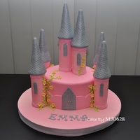 Princess Castle Cake  I made this simple castle cake for an 8th birthday of a friend's daughter. The mom wanted pink and silver colours for the cake and...