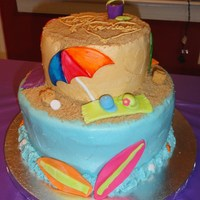 Beach-Themed Bridal Shower Bridal shower was themed around the honeymoon destination and they wanted a beachy, bright-colored cake. Bottom tier is Lemon Cake, top is...