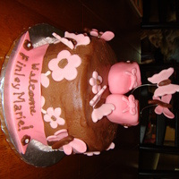 "Pink & Brown Baby Shower Cake ""Mommy-to-be"" requested Strawberry Cake with Chocolate Buttercream, MMF accents"
