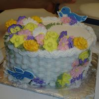 Wilton Course 2 Finale Cake I think I did great! lol I hope I'm not the only one that thinks that! Color Flow birds, royal icing flowers, buttercream basketweave...
