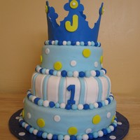 1St Prince Birthday Cake i made this cake for my cousins son 1st birthday party cake was red velvet with butercream icing and filling covered in fondant crown was...
