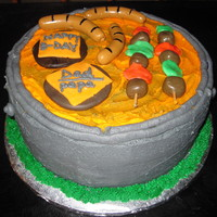 Bbq Bday Cake i made this cake for my dad he loves bbq in the summer and since he is born in the summer i siad what better cakr to make him them a bbq...