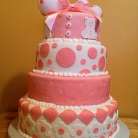 Pink Rattle Baby Shower Cake i made this cake for a friends babyshower she wanted a rattle with out a doubt n pink as much pink as possible so this what i created....