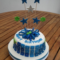 Blue Squares.. All decorations made in fondant.