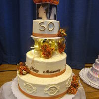Golden 50Th Cake My first cake this big (6-10-14). A lot of fun to make, just wish I had had more time to spend on the details! (PITA sweet 16 cake due the...