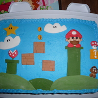 Super Mario Cake 2 Layer 9x13 cake, with fondant accents