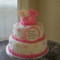 "Baby Shower Cake was made for my sister-in-law's baby shower. 8"" and 10"" rounds vanilla cake with dulce de leche mouse for filling. TFL..."