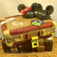 "Cruise Line Travel Cake This cake was done for a couple that loves ""The Mouse"" They are taking there honeymoon on a cruise and wanted there pre-wedding..."