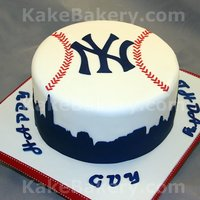 New York Yankees Birthday Cake This cake was done for a huge New York Yankees fan. The top is carved to look like a baseball with the Yankees logo, The boarder is of the...