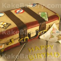 Suitcase Birthday Cake This cake was done for a Sweet 16 Birthday. All the patches are hand painted as well as the antiquing of the suite case. The cake board...