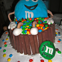 M&m Cake 3D Made this for our school principal. He loves M&M's. This is so easy. round cakes, Kit Kats for the hot tub, rice crispies for the...