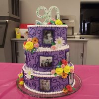 90Th Birthday all buttercream w/ edible images for the pictures, all fondant flowers.