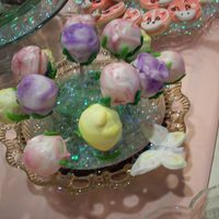 Rose Cake Balls Cake balls made to look like roses for a mother-daughter tea.