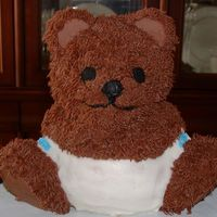 "Baby Shower Bear Cake Wilton stand up bear pan. I added the diaper and blue diaper pins - she was having a boy. I had fun making the ""fur"" out of..."