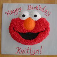 Elmo Birthday Cake Wilton Elmo pan. Buttercream icing. Fur made with 233 tip. Much easier than stars!